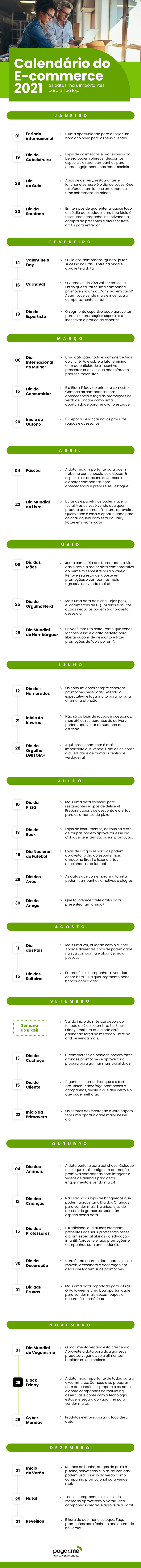 Calendario do E-commerce